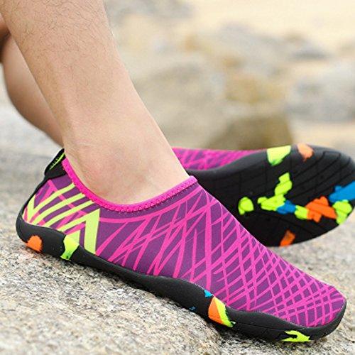 Ndier Tauchen Schuhe für Frauen und Männer, Leichte und Rutschfeste Strandschuhe für Sport Aquarium - Lila und Pink