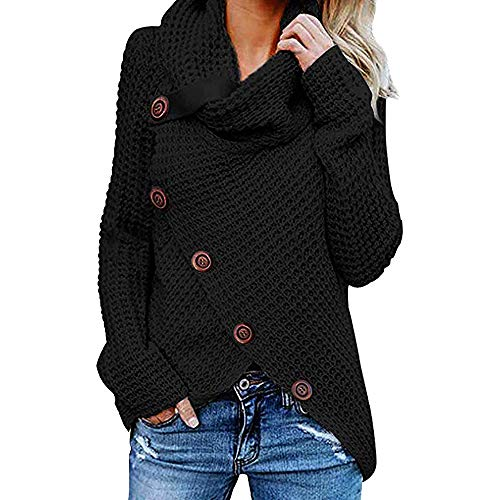 Cinsanong Women Long Sleeve Tops,Chunky Turtle Cowl Neck Asymmetric Hem Wrap Sweater Soild Sweater with Button Details (Black, XXXXXL)