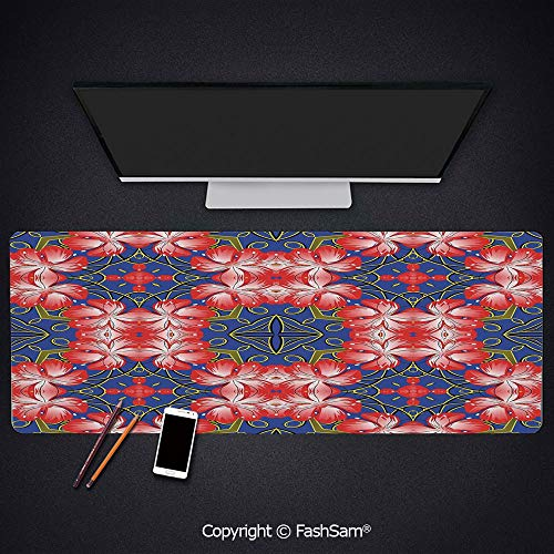 Desk Gaming Mouse Pad Non-Slip Blooms Pattern On Diamond Shaped Bands Flowers Glamour Beauty Print Keyboard Pad for Computer(W23.6xL15.7)