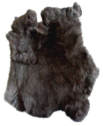 10 Pieces NATURAL BLACK Natural Real Fur Rabbit Skin WHOLESALE BULK LOT Pelt -