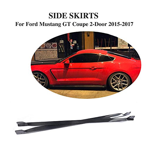 Extension Mustang Front Fender (Jcsportline Carbon Fiber Side Skirts Bumper Spoiler Body kits fits Ford Mustang 2015 2016 2017)