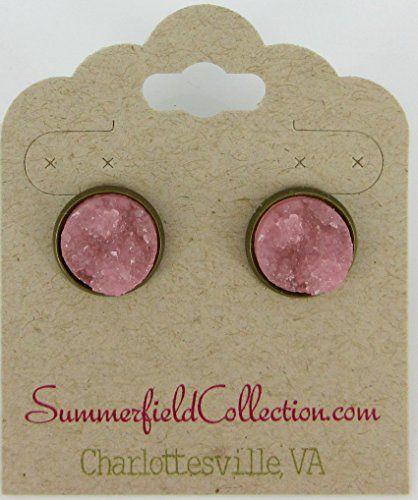 [Antiqued Gold-tone Pink Faux Druzy Stone Stud Earrings 12mm] (Simple Cheer Dance Costumes)