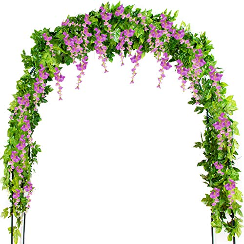 Mavee 4 Pcs 7.2 Feet Artificial Flower Vine Silk Wisteria Garland Hanging Rattan with Ivy Leaf for Wedding Home Decor (Purple)