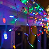 indoor icicle lights led - Multicolor LED Icicle Lights on White Wire - 70 M5 Multicolor LED Icicle Lights