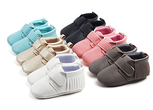 Antheron Infant Moccasins - Unisex Baby Girls Boys Tassels Soft Sole Toddler First Walker Newborn Crib Shoes(White,0-6 Months) - Image 2