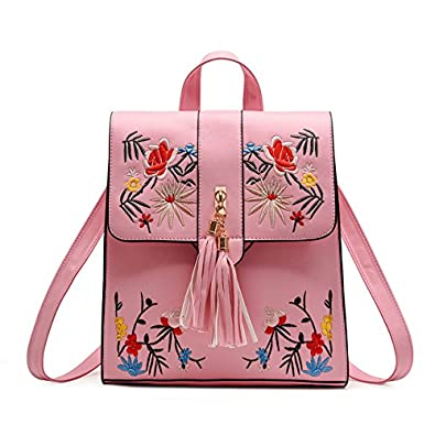 PU Embroidery Backpack School Bags For Teenagers Casual Black Trave Backpack Women Mochila Sac A Dos