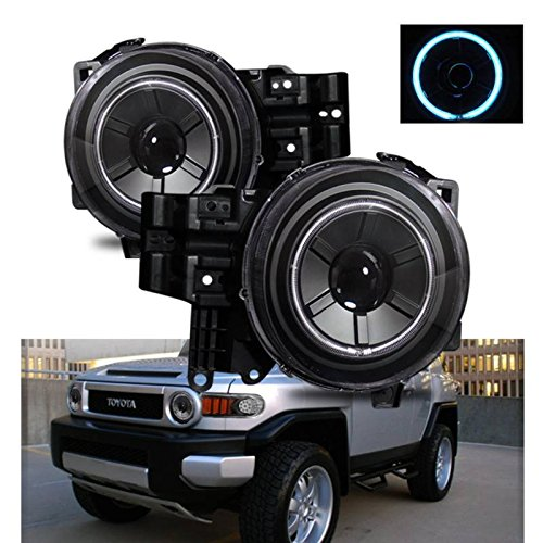 SPPC Black Projector Headlights Assembly Set CCFL Halo For Toyota Fj Cruiser - (Pair) Driver Left and Passenger Right Side Replacement Headlamp