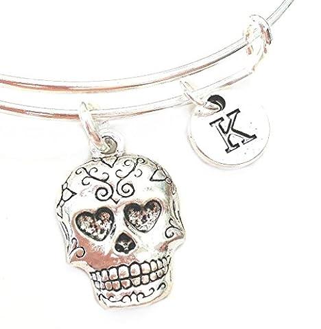 Mexican Katrina Sugar Skull Expandable Bangle Personalized Initial Bracelet