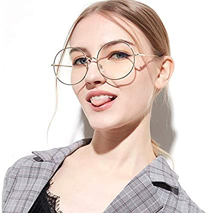 8ed9815983 Retro Women Large Round Blue Light Blocking Glasses Transparent Metal  Eyeglass Frame Anti Eyestrain Filter UV