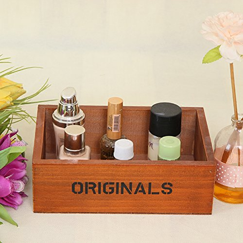 Coideal Wooden Tray Desktop Storage Holder/Remote Control Caddy Organizer Wood Box Container for Drawer, Desk, Office Supplies, Home, End Table (Vintage Wood Color, 19 x 13 x 6.5 cm) by Coideal (Image #2)