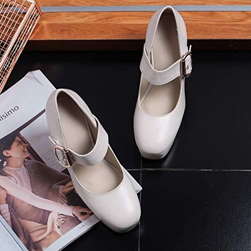 Beige Mary Zapatos Tacón Cómodo Coolcept Janes Ancho Mujer qfSZwxF