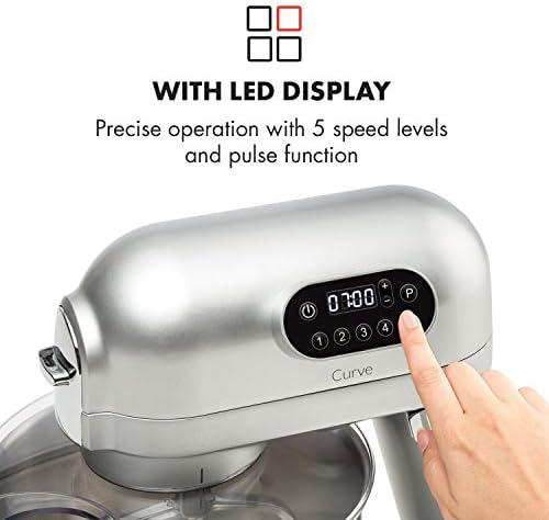 Klarstein Curve Robot de cocina - Mezclador, Pantalla LED, 5 velocidades, Sistema de rotación planetaria, 5 litros, Carcasa metálica, Accesorios, Plata: Amazon.es: Hogar