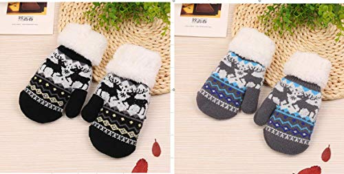2 Pack Kids Toddler Winter Mittens Warm Knit Fleece Lined Baby Boys Girls Gloves Christmas Gifts