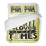 SanChic Duvet Cover Set Amity Hand Lettering Friend Loves at All Times with Boy Bible Verse Christian Proverbs Baby Decorative Bedding Set with 2 Pillow Shams Full/Queen Size