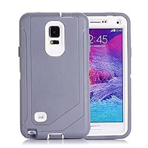 Tecoffer Defender Cases Cover built in screen protector for Samsung Galaxy Note 4_Grey white