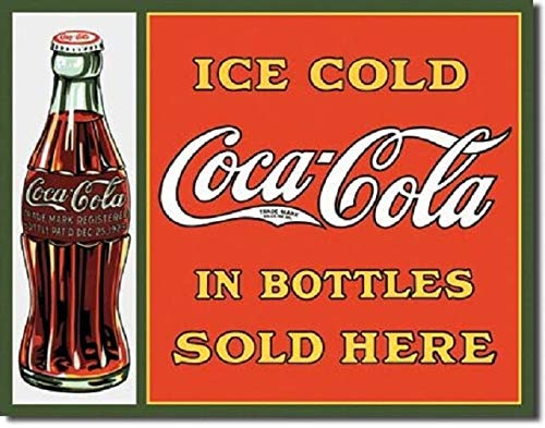SRongmao Coca Cola Coke Sold Here in Bottles Advertising Vintage Look Retro Metal Tin Sign 8x12in New