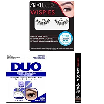 3a11f5a6774 Ardell Wispies Clusters 601 with Duo Quick Set Clear and Stroke Brow Medium  Brown: Amazon.co.uk: Beauty