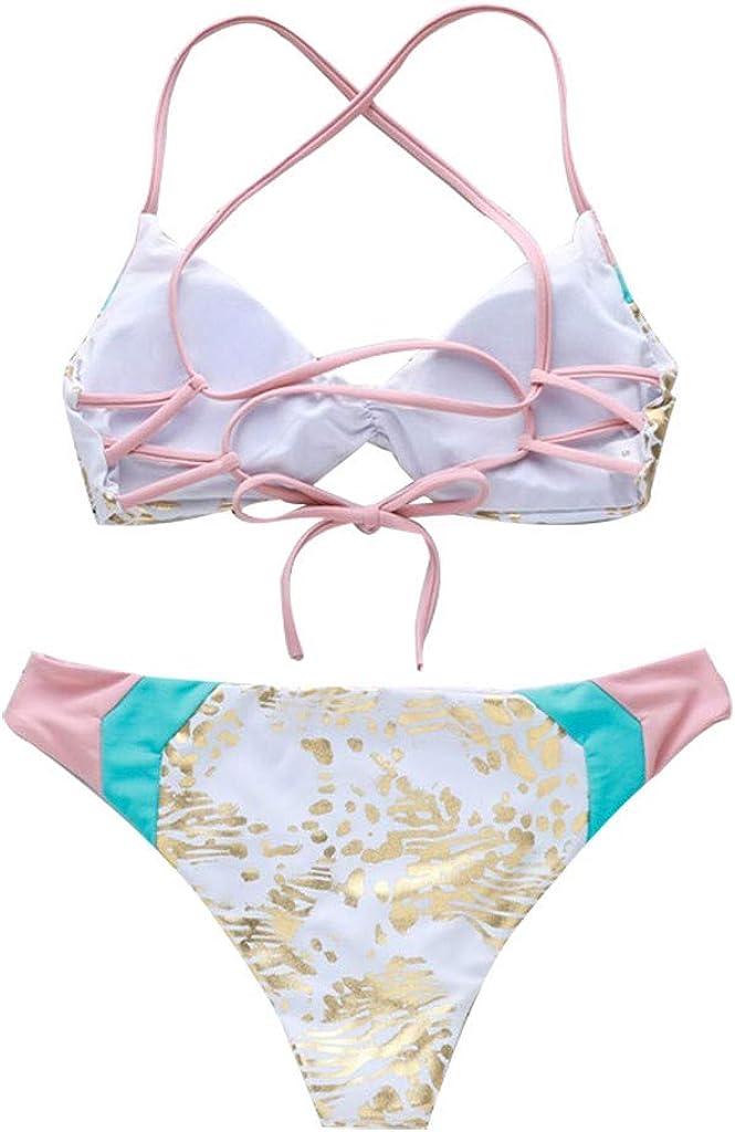 Plisado con Triangulo Tanga Cuello Halter Bikini Traje De Baño Sin ...