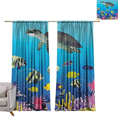 berrly Grommet Top Drapes Ocean,Sea Turtle Putterfish Clownfish Swimming Subaquatic Tropical Life Fins Seaweed Print, Multicolor W96 x L84 Living Room - Island Turtle Tortilla
