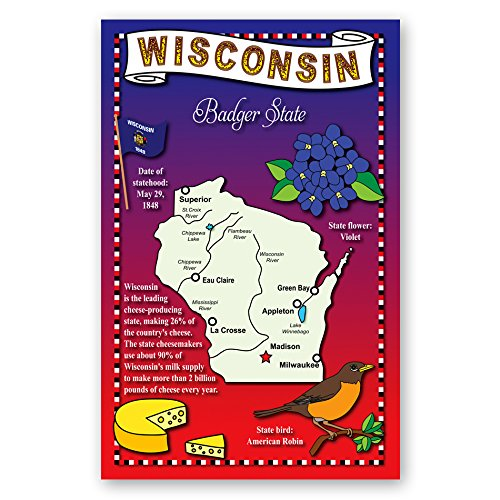 WISCONSIN STATE MAP postcard set of 20 identical postcards. Post cards with WI map and state symbols. Made in ()