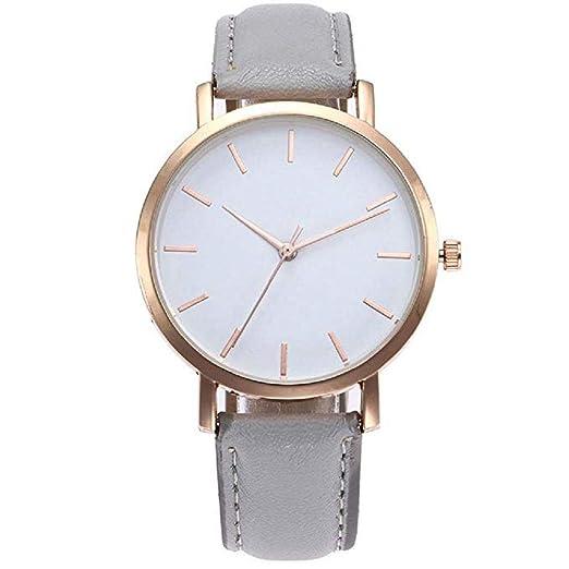a56700452f7c Relojes de Cuarzo para Mujer Señoras para niñas Adolescentes Moda  Minimalista Casual Reloj de Pulsera analógico de Cuarzo Redondo Oro Rosa  Plateado Dial ...