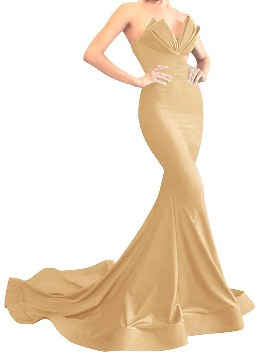 gold MorySong Women's Strapless Mermaid Evening Prom Dress Satin Long Formal Gown