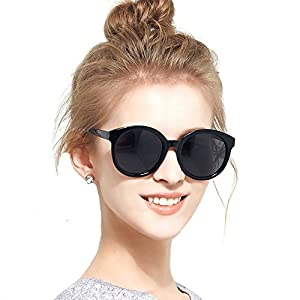 BLUEKIKI YEUX Women Polarized Sunglasses Vintage Oversized Round Mirror(Black, 55)
