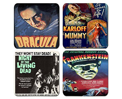 Best Vintage Horror Films - Old Horror Movies - Set of 4 Coasters 1/4 inch thick Very Halloween Old Pictures (Top Horror Films For Halloween)