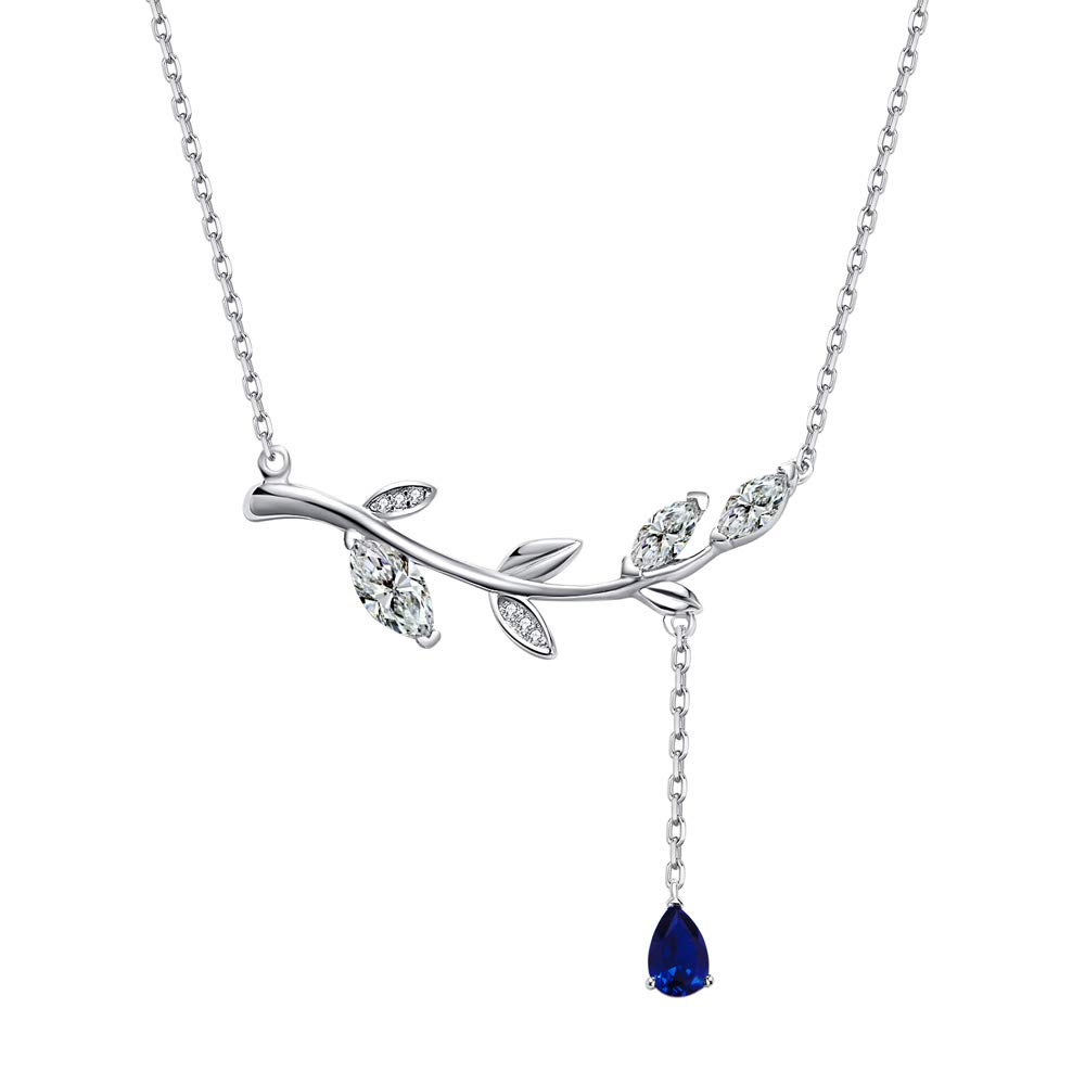SISMIURRA Ajustable Collar Mujer Rama de Olivo Plata de Ley 925 Colgante Gotas de Agua Choker Joyer/ía Regalo Cumplea/ños Aniversario Dia de San Valentin