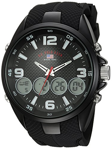 U.S. Polo Assn. Men's Quartz Metal and Rubber Casual Watch, Color:Black (Model: US9596)