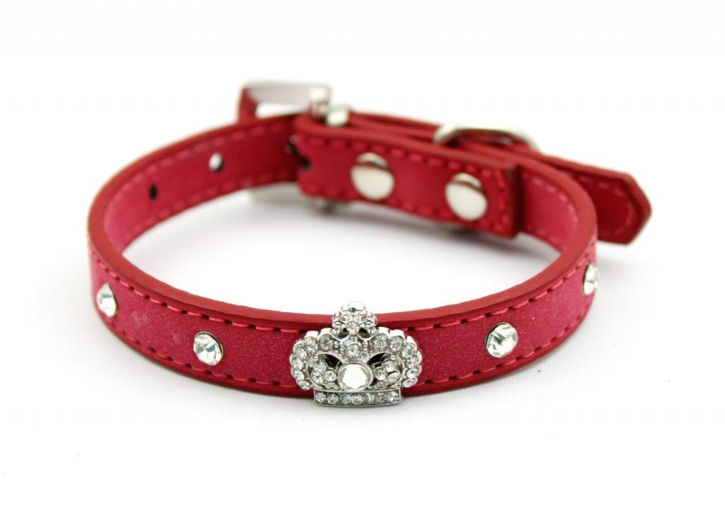 Namsan Couronne strass Chiot Animaux cristal Colliers Collier Bling avec Suede faux cuir - Rose -Extra Petit