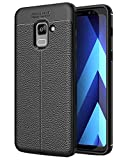 Golden Sand Samsung A8+ Plus Back Cover Premium Leather Texture Series Rugged Armor ShockProof TPU Case for Samsung Galaxy A8 Plus 2018 6inch, Black