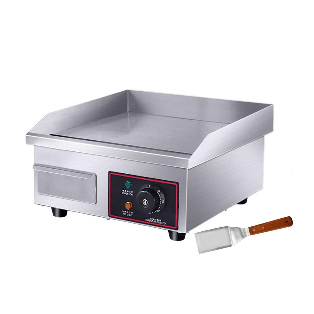 """PROMOTOR 14"""" 1500W Food Commercial Electric Countertop Griddle Flat Top Restaurant Grill BBQ Adjustable Temp Control Grill"""