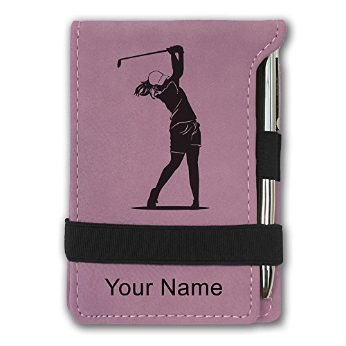 Mini Notepad, Golfer Woman, Personalized Engraving Included (Pink)