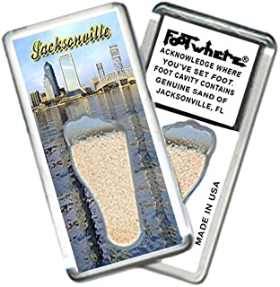 """product image for Jacksonville""""FootWhere"""" Souvenir Fridge Magnet. Made in USA (JX201 - Waterfront)"""