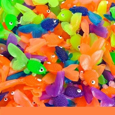 Rhode Island Novelty Vinyl Goldfish - 144 pieces - Assorted Colors - 1 3/4 inch long