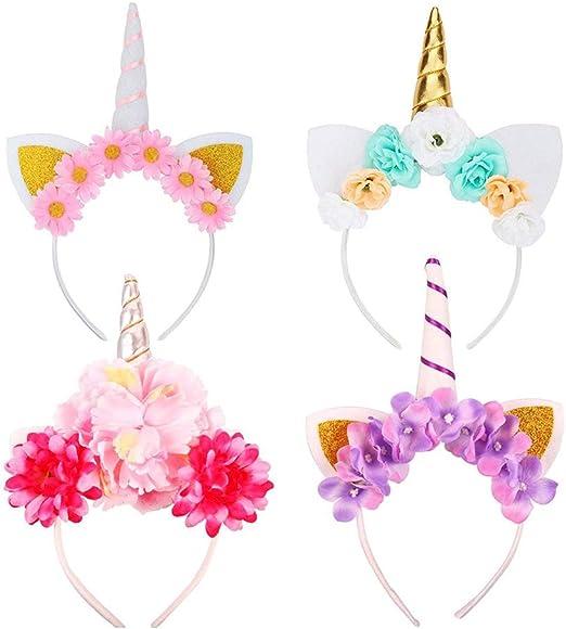 Paquete de 4 diademas de unicornio con cuerno de fieltro para ...