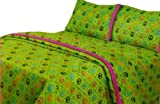 TWIN SHEET SET by PINK COOKIE - PEACE DIAGONAL LIME