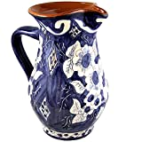 Hand Painted Vintage Traditional Portuguese Terracotta Wine Pitcher (White And Blue)