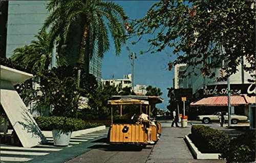 Tram Cars Travel the Exclusive Lincoln Road Mall Miami Beach, Florida Original Vintage - Miami Florida Mall