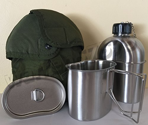 MILITARY STYLE STAINLESS STEEL CANTEEN WITH CUP, 1.3LITER (44oz.) AND LID With Genuine G.I. Nylon Od Color Insulated Canteen Cover KIT. by G.A.K