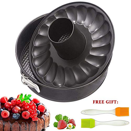 - 7 inch Springform Cake Pan Cheesecake Bakeware Non Stick Baking for Pressure Cooker 5 6 8 Qt with Leakproof 2 Removable Bottom and Silicone Brush