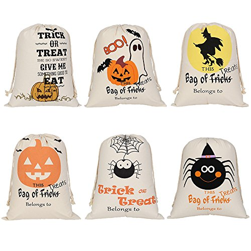 Aspire Wholesale Halloween Durable Canvas Drawstring Bags Trick Candy Storage Reusable Present Bag-Assorted-6 pcs