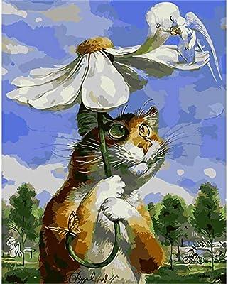 Crisantemo Gato Animal Digital DIY Pintura Digital Mural Moderno ...