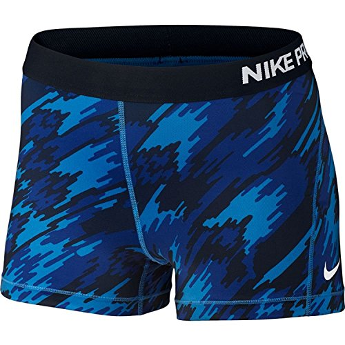 "NIKE Women's 3"" Pro Cool Overdrive Training Shorts-Camo Blue-XL"