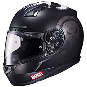 HJC Helmets Marvel CL-17 Unisex-Adult Full Face THE PUNISHER Street Motorcycle Helmet (Black/White, Large) 51aIijnIkQL