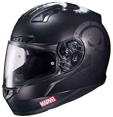 HJC Helmets Marvel CL-17 Unisex-Adult Full Face THE PUNISHER Street Motorcycle Helmet (Black/White, Large) 51aIijnIkQL