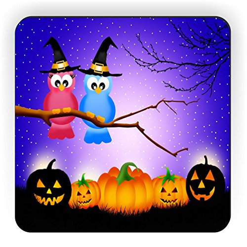 Rikki Knight Halloween Owls in Tree at Night with Pumpkins Design Square Fridge Magnet]()