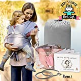Baby Wrap Carrier Ring Sling | Soft Infant Newborn Wraps Holder Set | Breathable Organic Preemie Cotton Breastfeeding Cover with 2 Aluminum Slings Rings & Instructions | Ideal Gift for Nursing Moms