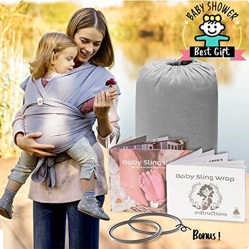 Baby Wrap Carrier Ring Sling | Soft Infant Newborn Wraps Holder Set | Breathable Organic Preemie Cotton Breastfeeding Cover with 2 Aluminum Slings Rings & Instructions | Ideal Gift for Nursing Moms ()
